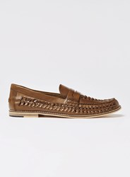 Topman Brown Tan Leather Weave Mantis Loafers