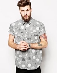 Asos Oversized Denim Shirt In Short Sleeve With Large Polka Dot Print Grey