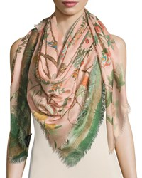 Gucci Tree Of Life Wool And Silk Shawl Rose Pink