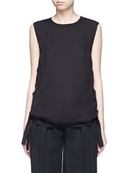 Vince Knotted Ruched Ribbon Silk Tank Top Black