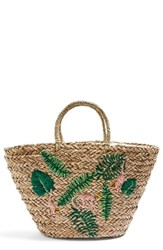 Topshop Barrio Monkey Embroidered Straw Tote Bag Beige Nude Multi
