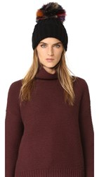 Jocelyn Knit Hat With Fox Pom Black