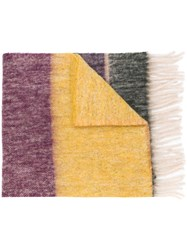 Paul Smith Ps By Colour Block Fringed Scarf Yellow And Orange