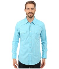 Rock And Roll Cowboy Long Sleeve Snap B2s7276 Turquoise Men's Long Sleeve Button Up Blue