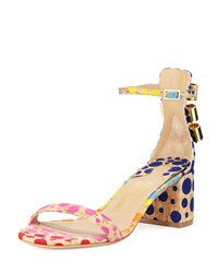 Salvatore Ferragamo Connie Spotted Cork Sandal Multi