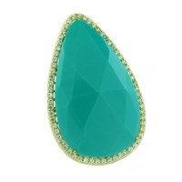 Earthy Chic Boutique Turquoise And Crystal Statement Ring Silver