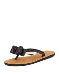 Icarda Glitter Bow Thong Sandal Black Kate Spade New York