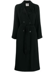 Forte Forte Belted Double Breasted Coat Black