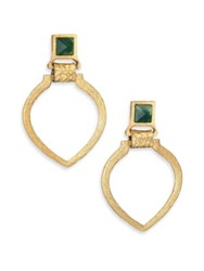 Stephanie Kantis Tier Green Moss Agate Doorknocker Earrings Gold Green