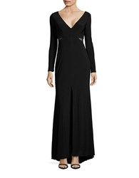 Xscape Evenings Long Sleeve Cutout Fit And Flare Gown Black