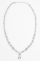 Nadri Teardrop Pendant Necklace Nordstrom Exclusive Silver Clear Cz