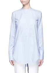 Helmut Lang 'Oxford Tuxedo' Stripe Bib Front Cotton Shirt Blue