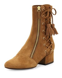Laurence Dacade Marcella Side Zip Lace Up Suede Boot Tan