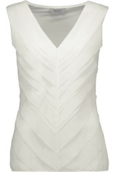 Bailey 44 Stretch Jersey And Crepe De Chine Top Ivory
