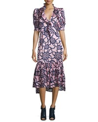 Dries Van Noten Demi Half Sleeve Printed Midi Dress Navy Pink