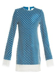 Marques Almeida Layered Net And Wool Mini Dress Blue White