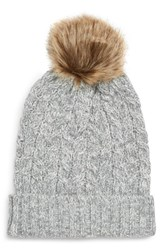 Sole Society Cable Knit Beanie With Faux Fur Pom Grey