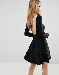 Club L Slinky Skater Dress With Low Back Black