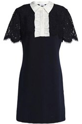 Claudie Pierlot Lace Paneled Ruffle Trimmed Jersey Mini Dress Midnight Blue