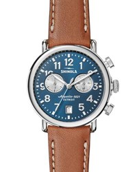 Shinola 41Mm Runwell Chronograph Watch Midnight Blue Tan Dark Blue