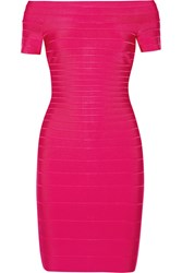 Herve Leger Off The Shoulder Bandage Dress Pink