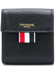 Thom Browne Clasped Leather Large Coin Case Black