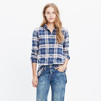 Madewell Rivet And Thread Flannel Slim Tunic Shirt In Hailey Plaid