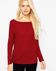 Asos Top With Off Shoulder Detail In Slouchy Fabric Red