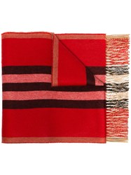 Burberry Striped Cashmere Scarf Red