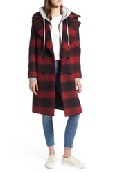 Kendall Kylie Double Breasted Plaid Wool Blend Coat Black Red Plaid
