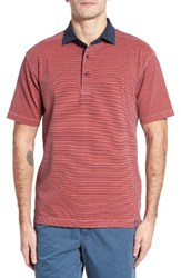 Thaddeus Men's Ivan Stripe Stretch Jersey Polo True Red