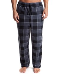 Perry Ellis Men's Plaid Fleece Pajama Pants Blue Black