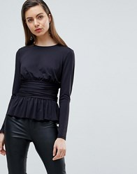 Ivyrevel Jersey Top With Corset Detail Black