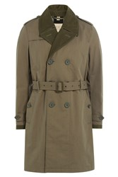 Burberry Brit Cotton Blend Trench Coat Green
