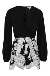 Floral Scallop Wrap Playsuit By Rare Multi
