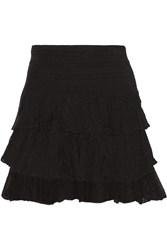Maje Jupiter Ruffled Stretch Knit Mini Skirt Black