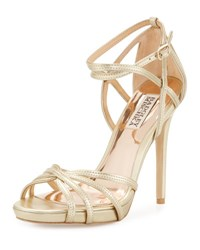 Badgley Mischka Leon Strappy Leather Sandal Gold