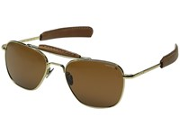 Randolph Aviator Ii 55Mm Polarized 23K Gold Plated Tan Polarized Glass Lens Fashion Sunglasses Brown