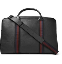 Paul Smith City Webbing Stripe Trimmed Pebble Grain Leather Holdall Black
