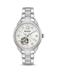 Bulova Automatic Watch 34.5Mm White Silver