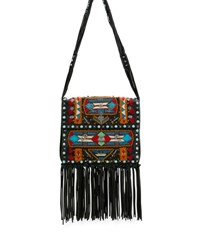 Valentino Rockstud Rolling Embroidered Fringe Trim Leather Crossbody Bag Black