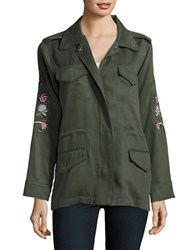 Bb Dakota Floral Embroidered Utility Jacket Army Green