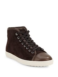 Tod's High Rise Leather Sneakers Brown