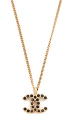 Wgaca Chanel Necklace Previously Owned Black Gold