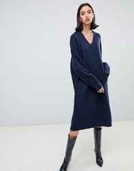 Selected Femme V Neck Jumper Dress Navy