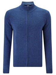 John Lewis Made In Italy Merino Cashmere Zip Neck Jumper Blue