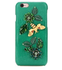 Dolce And Gabbana Embellished Leather Iphone 6 Case Green