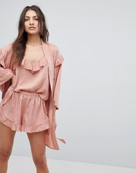 Y.A.S Ruffle Robe With Gold Spot Print Pink