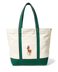 Polo Ralph Lauren Big Pony Multicolor Tote Bag Natural Green
