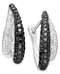Macy's Black And White Diamond Pave Hoop Earrings In 14K White Gold 1 9 10 Ct. T.W.